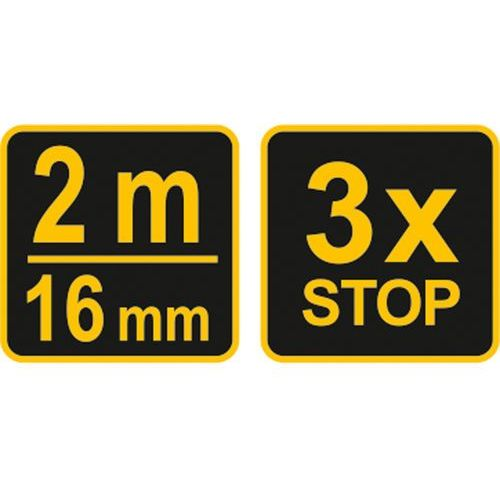Miara zwijana żółto-czarna 2 m x16 mm 10101 - zyskaj rabat 30 zł marki Vorel