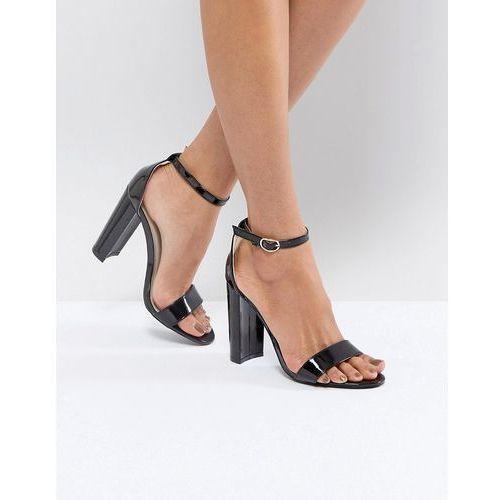 black barely there block heeled sandals - black, Glamorous