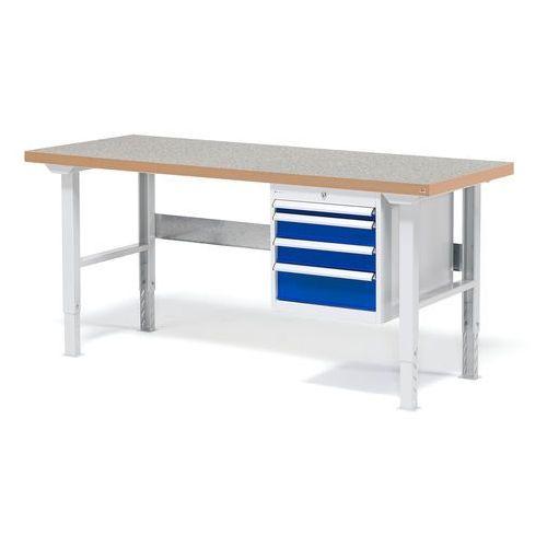 Stół warsztatowy solid, zestaw z 4 szufladami, 500 kg, 1500x800 mm, winyl marki Aj produkty