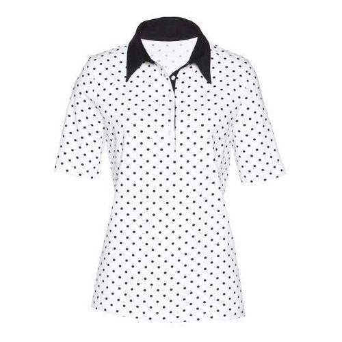 Shirt polo bonprix biało-czarny, w 6 rozmiarach