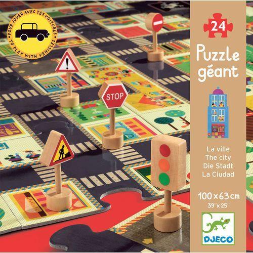 Puzzle - Ulice w mieście ze znakami drogowymi