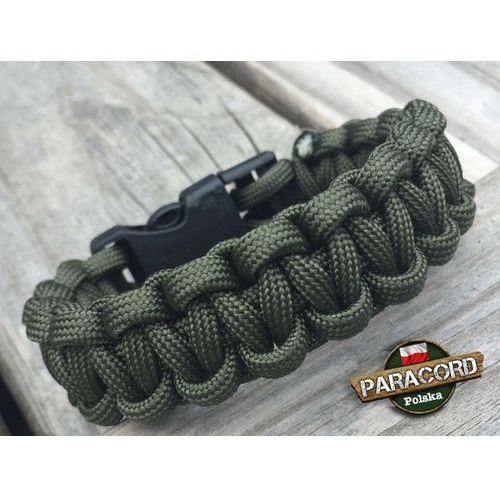 """Bransoleta z Paracordu typ """"Cobra - Army green"""" z wplecioną plastikową klamrą"""