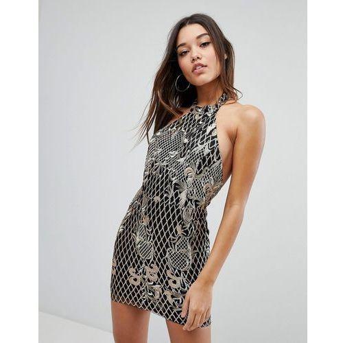 embroidered sequin halter neck mini dress - black marki Missguided