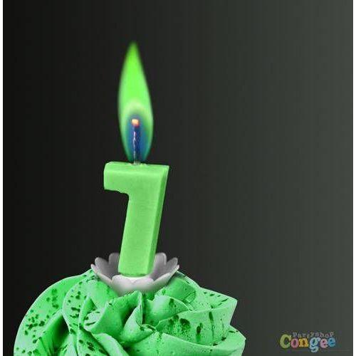 """Sens Świeczka cyferka siódemka """"7"""" z zielonym płomieniem - 1 szt."""
