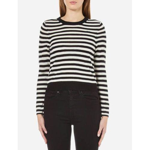 women's high stripe knitted jumper - white - m/uk 10 wyprodukowany przez Cheap monday