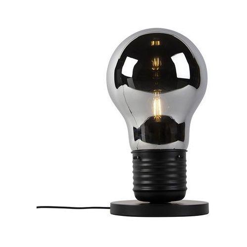 Honsel Designerska lampa stołowa czarna z szkłem dymnym - nigrum