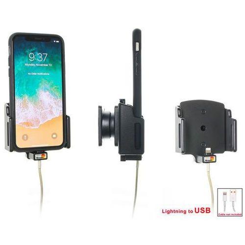 Brodit ab Uchwyt regulowany do apple iphone x w futerale lub obudowie o wymiarach: 70-83 mm (szer.), 2-10 mm (grubość) z możliwością wpięcia kabla lightning usb