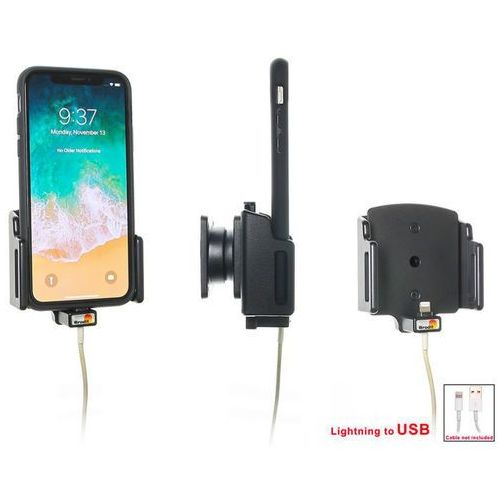 Uchwyt regulowany do apple iphone x w futerale lub obudowie o wymiarach: 70-83 mm (szer.), 2-10 mm (grubość) z możliwością wpięcia kabla lightning usb marki Brodit ab