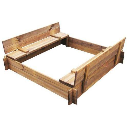Drewniana piaskownica z pokrywą i ławeczkami