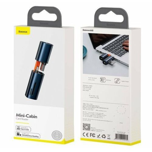 Baseus Mini-cabin card reader   Czytnik kart SD micro SD TF USB-C USB-A 3.0   niebieski - Niebieski