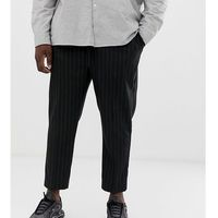 plus pinstripe elasticated trousers in black - black marki New look