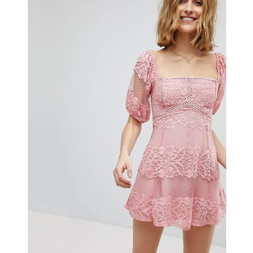 Free People Be Your Baby Lace Mini Dress - Pink, w 4 rozmiarach
