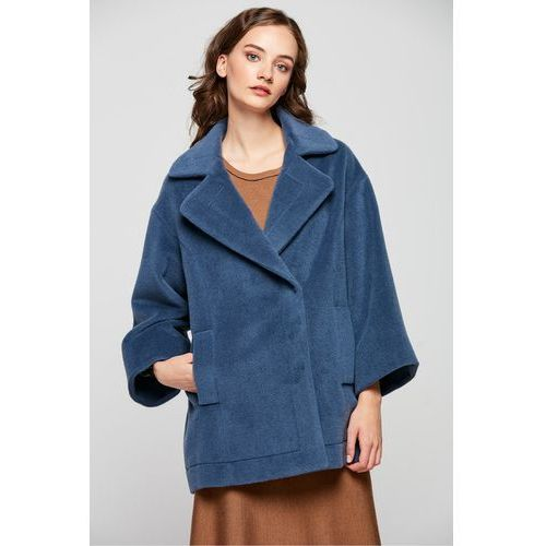 Krótki płaszcz z wełny dziewiczej z ozdobną stębnówką - Patrizia Aryton