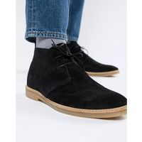 River Island suede chukka boot in black - Black