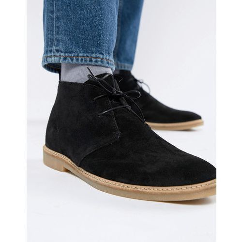 suede chukka boot in black - black marki River island