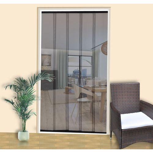 vidaXL Moskitiera do drzwi, 220 x 125 cm, 5 pasów, czarna, poliester