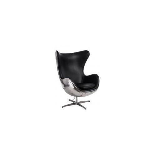 Fotel jajo aluminium czarne pu marki D2design