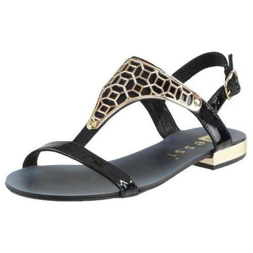 Sandały 17185 - czarny 7 (złoty obcas) marki Nessi