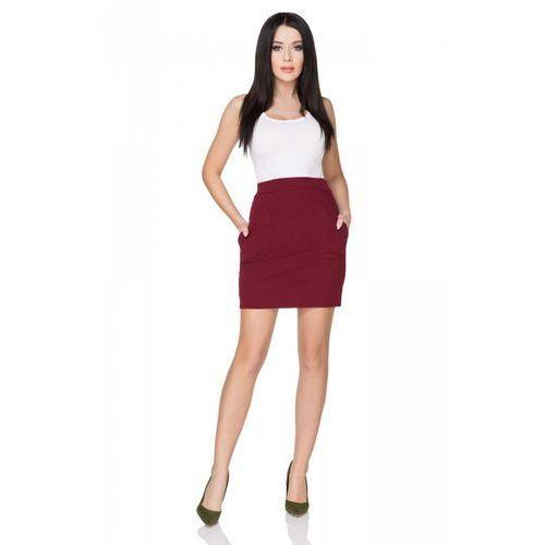 Bordowa spódnica dopasowana mini z kieszeniami, Tessita, 34-46