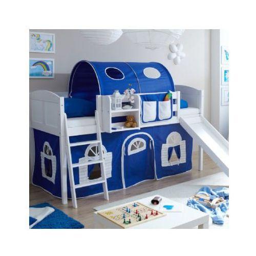 TICAA Łóżko ze zjeżdżalnią EKKI sosna white Country kolor niebieski/biały