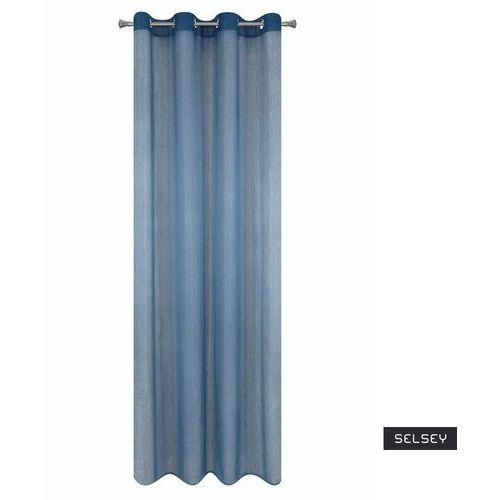 Eurofirany Selsey firana na przelotkach batroni 140x250 cm niebieska