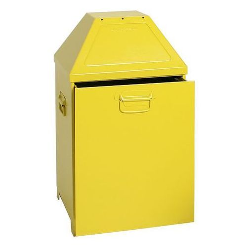Pojemnik na odpady, gaszący płomienie, poj. 79 l, wkładka wyjmowana, żółty. Wkła