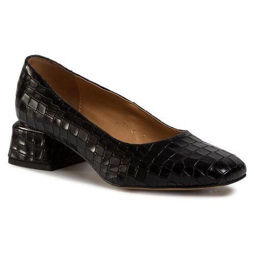 Półbuty SAGAN - 4074 Czarny Krokodyl, kolor czarny