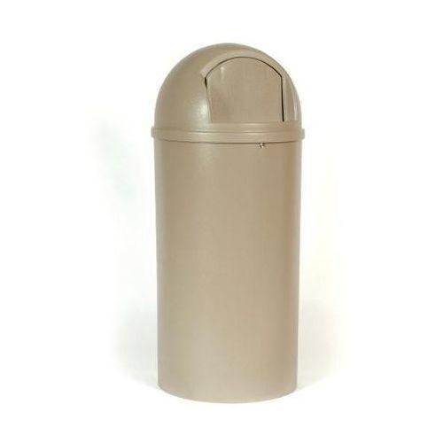 Rubbermaid Pojemnik na odpady (pe), ogniotrwały, poj. 80 l, Ø 455 mm, beżowy. z bardzo trwa