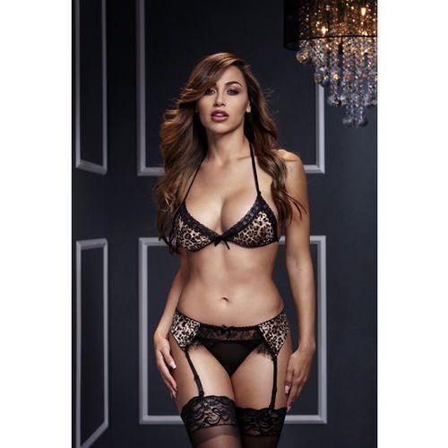 Komplet ze stanikiem i majteczkami - leopard & lace bra top & garter & panty marki Baci