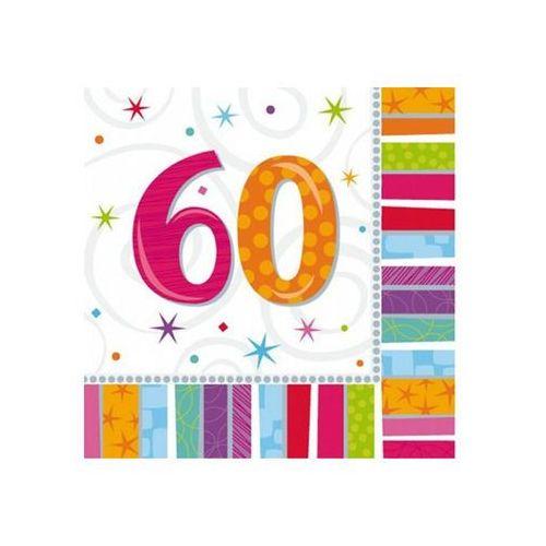 Amscan Serwetki urodzinowe na sześćdziesiąte urodziny - 60tka - 33 x 33 cm - 16 szt.