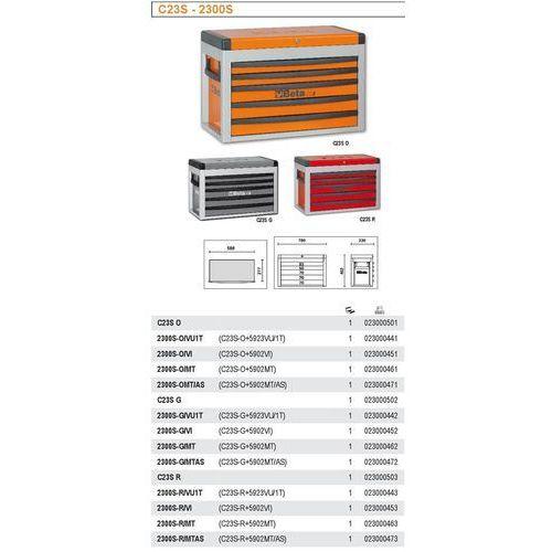 Skrzynia narzędziowa 2300/c23s z zestawem 86 narzędzi, model 2300sg/vu1t, szara marki Beta