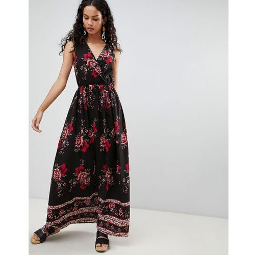 Parisian Border Print Floral Maxi Dress - Black, kolor czarny