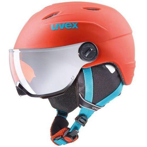 Dziecięcy kask narciarski junior visor pro pomarańczowy 566/191/3105 54-56 m marki Uvex
