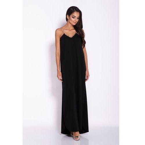 Czarna elegancka wieczorowa sukienka maxi na łańcuszku