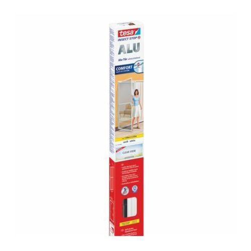 Moskitiera do drzwi comfort z ramą aluminiową, 2,2 m x1 m, biała marki Tesa