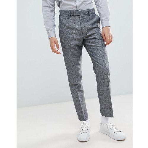French Connection Slim Fit Grey Herringbone Suit Trousers - Grey