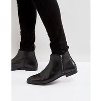 Frank Wright Side Zip Chelsea Boots Black Leather - Black