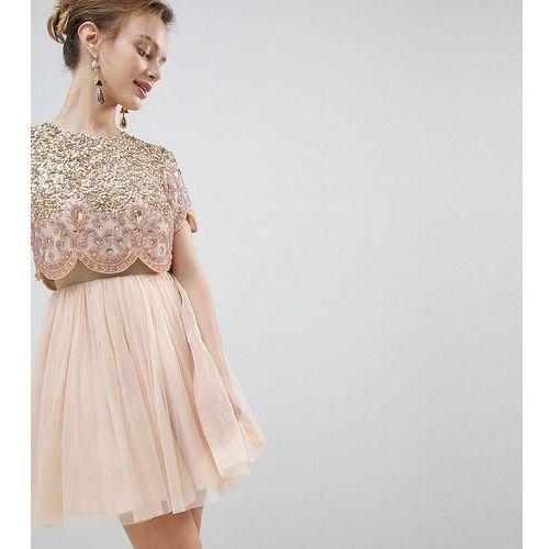 ASOS DESIGN Petite heavily embellished tulle mini prom dress - Pink