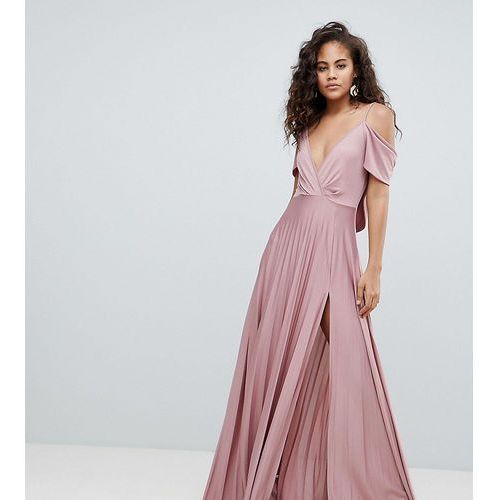 ASOS DESIGN Tall cold shoulder cowl back pleated maxi dress - Pink, kolor różowy
