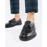west tassel loafers in black milled leather - black, Walk london