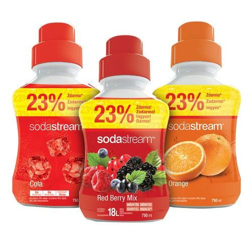 syropy pomarańczowy, owoce leśne i cola 750 ml marki Sodastream