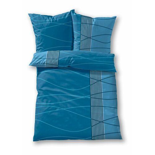 Pościel w falowane paski bonprix niebieski, kolor niebieski