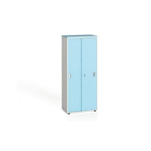 Szafa biurowa z przesuwnymi drzwiami, 1781 x 800 x 420 mm, biały/turkusowy