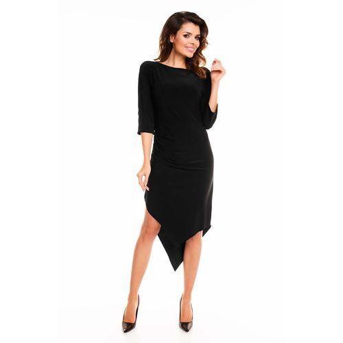 Czarna Sukienka Asymetryczna Drapowana w Talii, WA131bl