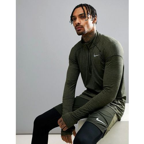 Nike Running Dry Element Half Zip Sweat In Khaki 857820-355 - Green