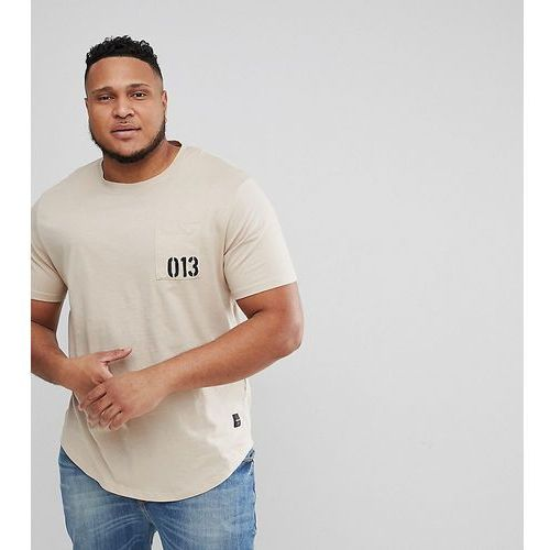 plus t-shirt with printed patches and curved back - beige marki Only & sons