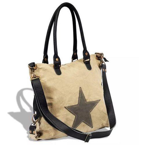 Płócienno-skórzana torba na zakupy z gwiazdą, beżowa