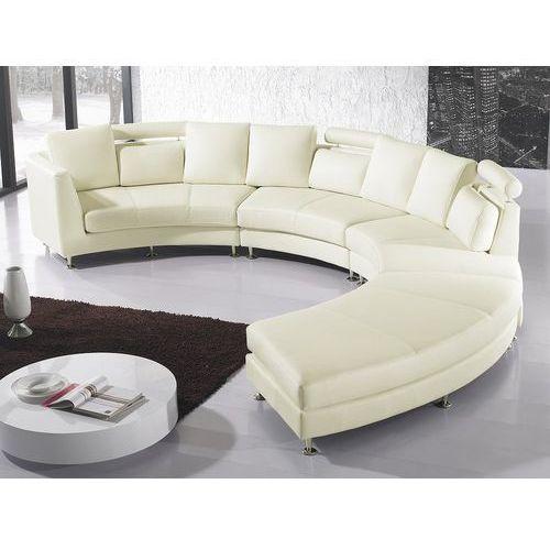 Sofa skórzana kremowa, półokrągła - ROTUNDE