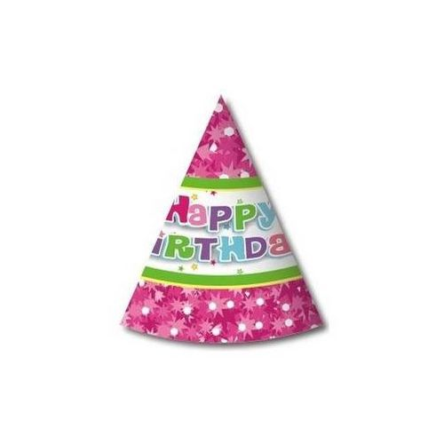 Czapeczki papierowe Happy Birthday Różowe - 6 szt.