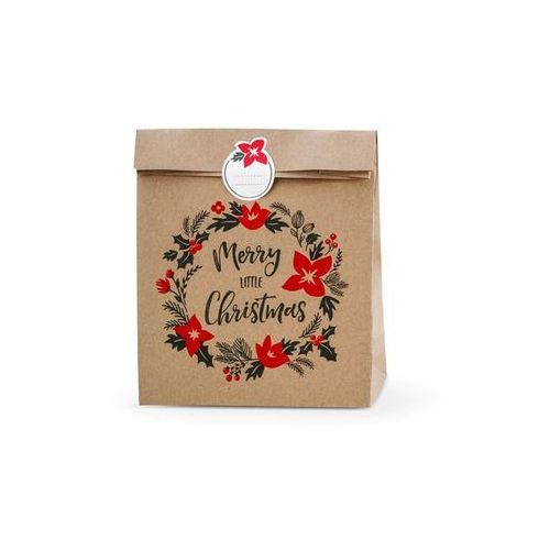 Party deco Torebka prezentowa merry little christmas, kraf - 3 szt. (5902230792449)